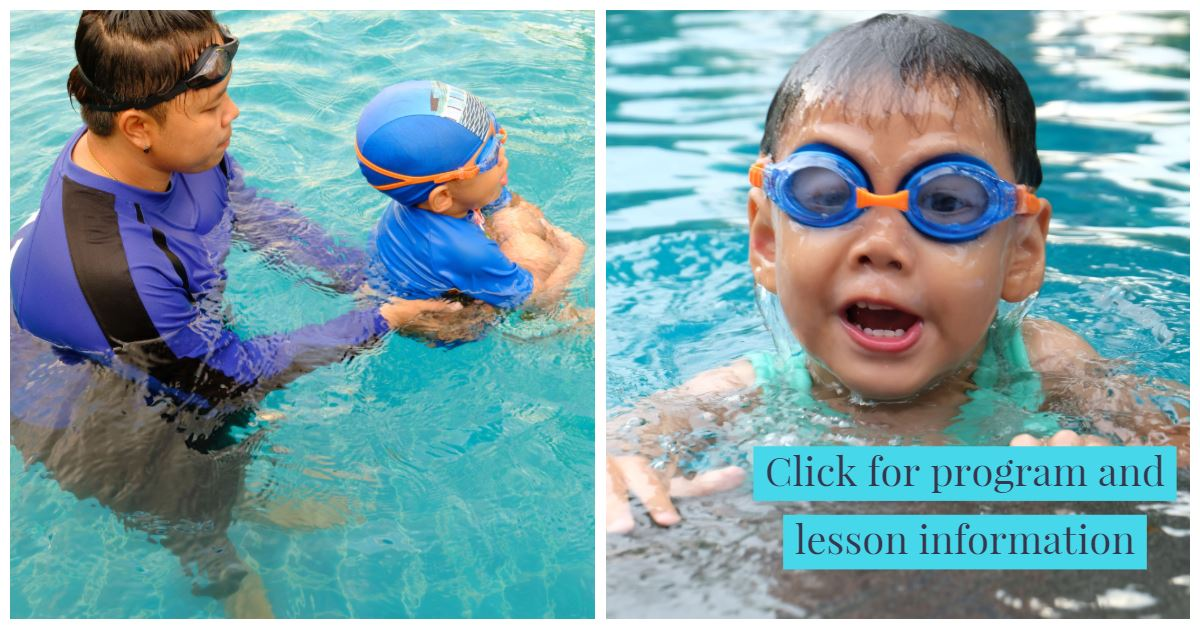 Child swimming in poool with somebody holding them